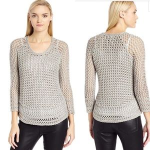 Lucky Brand Marissa Metallic Gray Medium Sweater